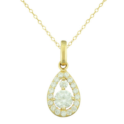 Petite Lux™ Cubic Zirconia 10K Yellow Gold Teardrop Pendant Necklace