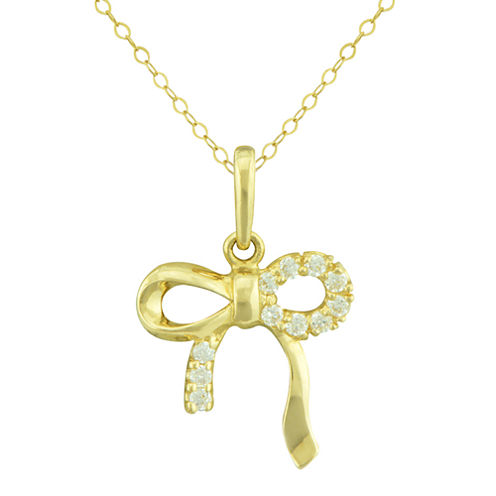Petite Lux™ Cubic Zirconia 10K Yellow Gold Bow Pendant Necklace
