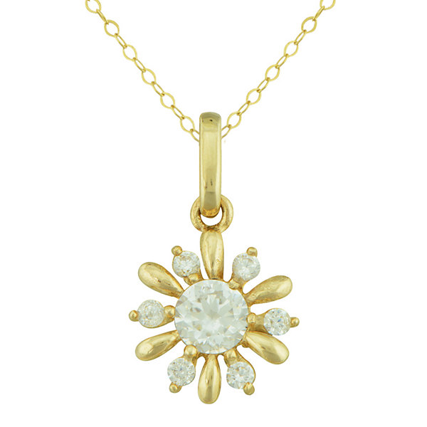 Petite Lux™ Cubic Zirconia 10K Yellow Gold Flower Pendant Necklace