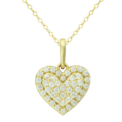 Petite Lux™ Cubic Zirconia 10K Yellow Gold Heart Pendant Necklace