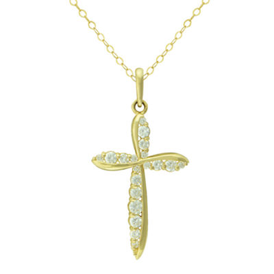 Petite Lux™ Cubic Zirconia 10K Yellow Gold Cross Pendant Necklace