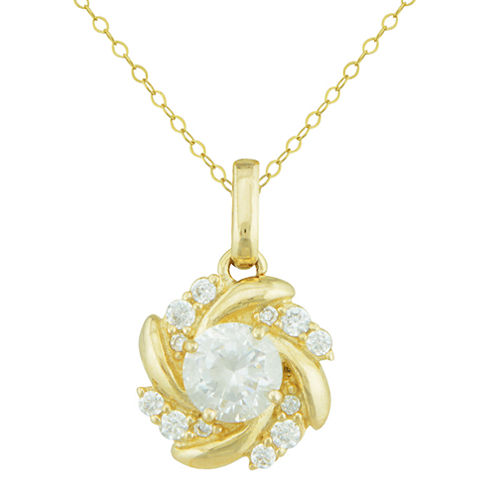 Petite Lux™ Cubic Zirconia 10K Yellow Gold Swirl Pendant Necklace