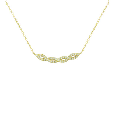 Petite Lux™ Cubic Zirconia 10K Yellow Gold Swirl Necklace
