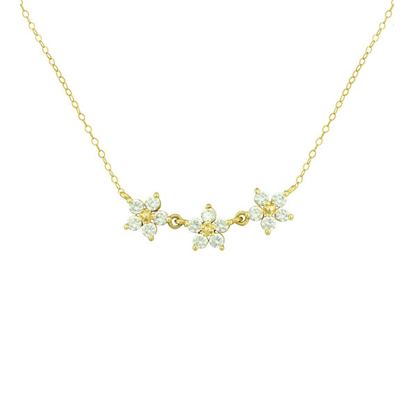 10k cubic zirconium flower necklace petite lux cubic zirconia 10k yellow gold 3 flower necklace mightylinksfo Choice Image