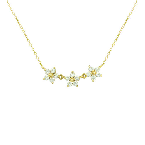 Petite Lux™ Cubic Zirconia 10K Yellow Gold 3-Flower Necklace