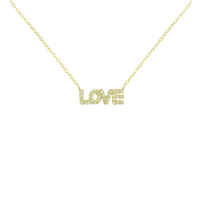 """Petite Lux™ Cubic Zirconia 10K Yellow Gold """"Love"""" Necklace"""