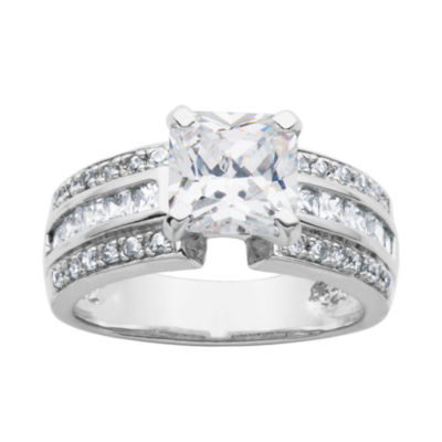 DiamonArt® Cubic Zirconia Sterling Silver Bridal Ring