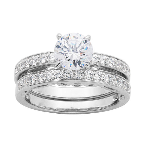 Diamonart Cubic Zirconia Sterling Silver Bridal Ring Set