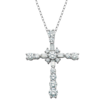 DiamonArt® Cubic Zirconia Sterling Silver Cross Pendant Necklace