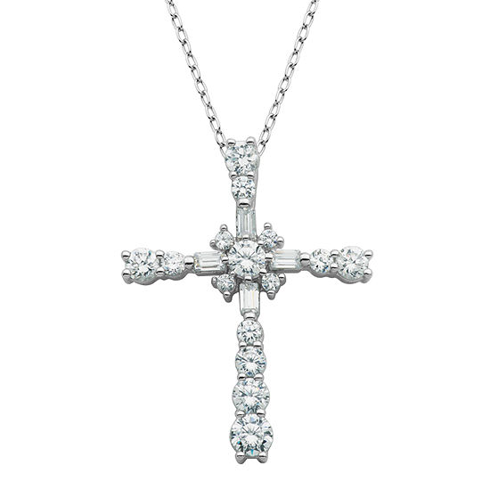 DiamonArt® Cubic Zirconia Sterling Silver Cross Pendant Necklace