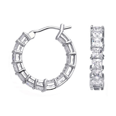 DiamonArt® Cubic Zirconia Sterling Silver Huggie Hoop Earrings