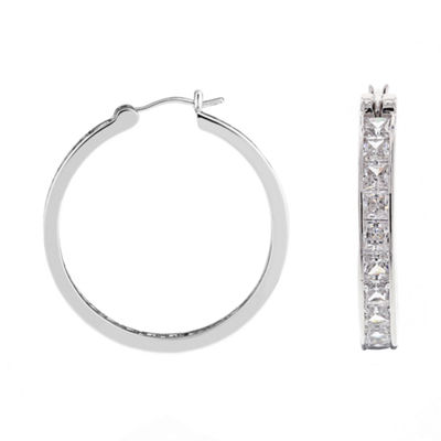 DiamonArt® Cubic Zirconia Sterling Silver Hoop Earrings