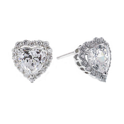 DiamonArt® Cubic Zirconia Sterling Silver Heart Halo Stud Earrings