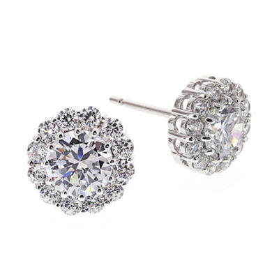 DiamonArt® Cubic Zirconia Sterling Silver Halo Stud Earrings