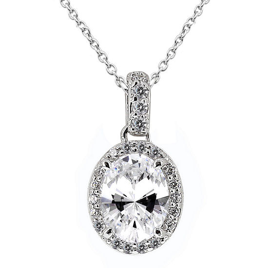 DiamonArt® Cubic Zirconia Sterling Silver Oval Halo Pendant Necklace