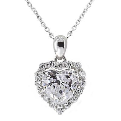 DiamonArt® Cubic Zirconia Sterling Silver Heart Halo Pendant Necklace