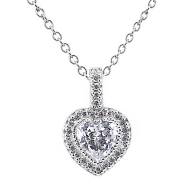 DiamonArt® Cubic Zirconia Sterling Silver Heart Halo Pendant Necklace