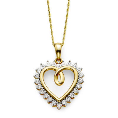 1/10 CT. T.W. Diamond 14K Gold Over Sterling Silver Heart Pendant Necklace