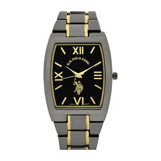 U.S. Polo Association® Mens Black Rectangle Bracelet Watch