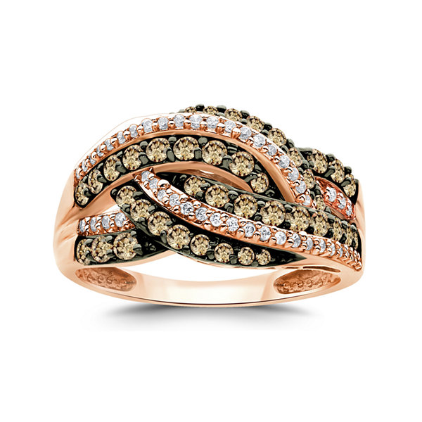 LIMITED QUANTITIES 1 CT. T.W. Champagne and White Diamond 14K Rose Gold Multi-Row Ring