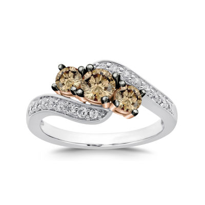 LIMITED QUANTITIES 1 CT. T.W. Champagne and White 3-Stone Bypass Ring