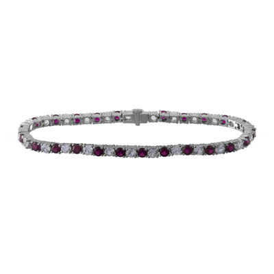 Lab-Created Ruby and White Sapphire Sterling Silver Bracelet