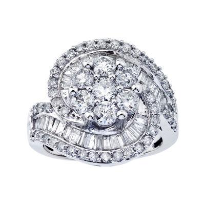 10K White Gold Diamond Blossom Swirl Ring