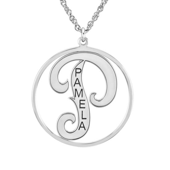 Personalized 25mm Initial and Name Circle Pendant Necklace
