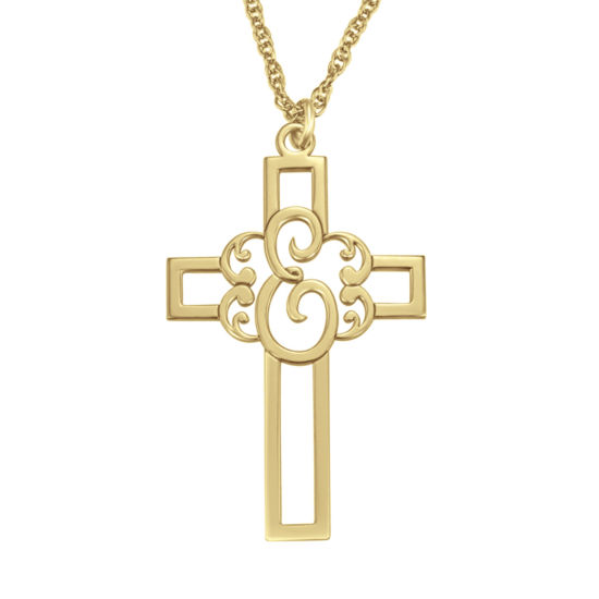 Personalized Initial Cutout Cross Pendant Necklace