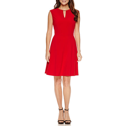 Chelsea Rose Sleeveless Bar Neck Fit N Flare Dress