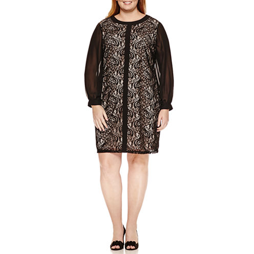 London Times Long Sleeve Scroll Shift Dress-Plus