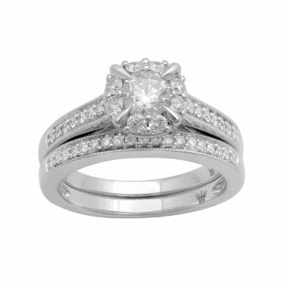 Hallmark Bridal Womens 1 CT. T.W. Genuine White Diamond 10K Gold Engagement Ring