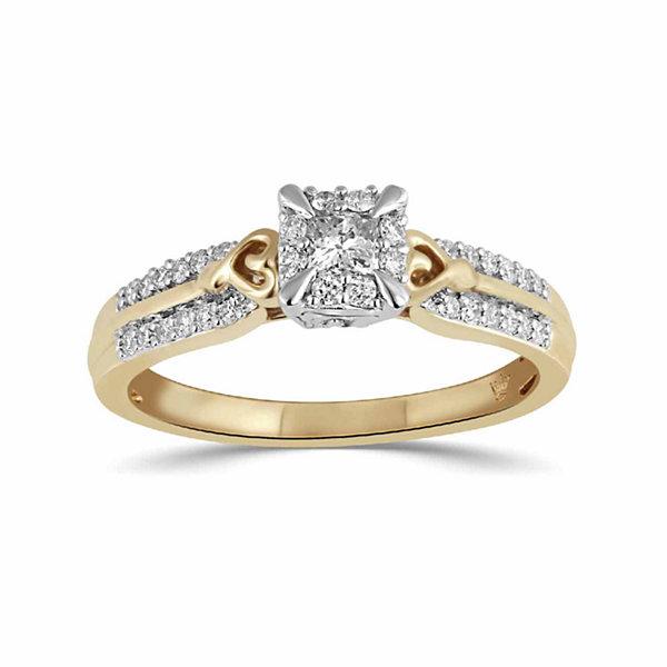 Fine Jewelry Womens Diamond Accent White Diamond 10K Gold Crossover Ring mOYg1t47