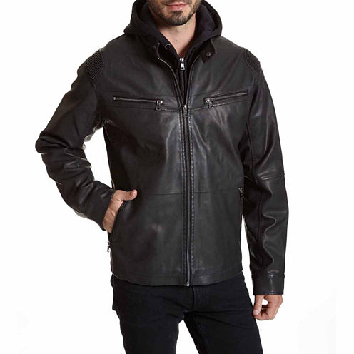 EXCELLED FAUX LEATHER RACER JACKET