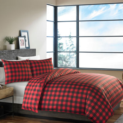 Eddie Bauer® Mountain Plaid Scarlet Duvet Sham Set