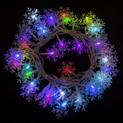 Electric Powered 50 LED Extendable Snowflake Light Christmas Holiday Party Lights
