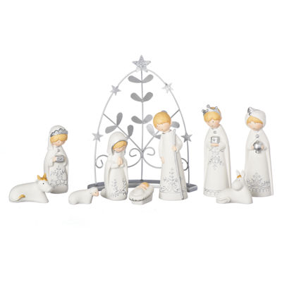 Roman 9.5 Inch Bisque Silver 9-pc. Nativity Set