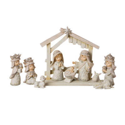 Roman 3 Inch Pageant Ivory 9-pc. Nativity Set