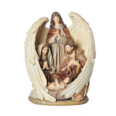 Roman 12.5 Inch Holy Family In Angel Wings Nativity Set