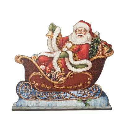 Joseph'S Studio 30 Inch Santa'S Sleigh Floor Plaque Santa Figurine