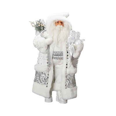 Roman 18 Inch Silver And White Santa Figurine