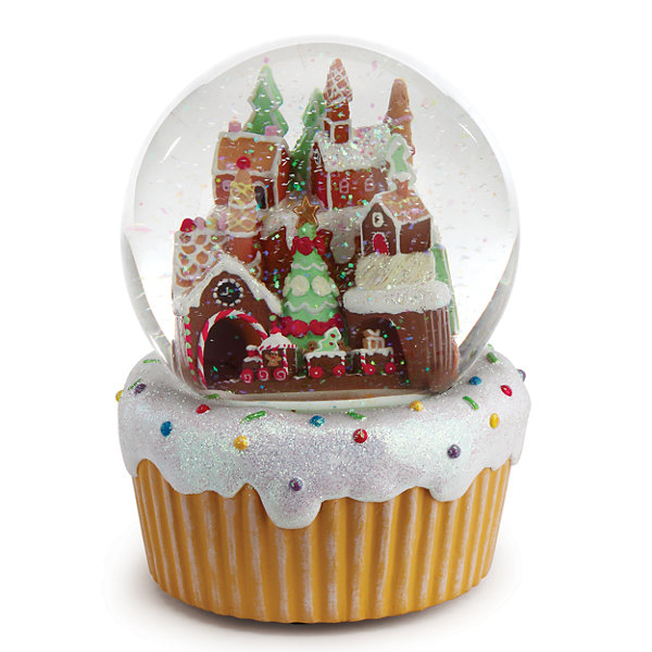 Roman 7 Inch Musical Gingerbread Village With Train Snow Globe