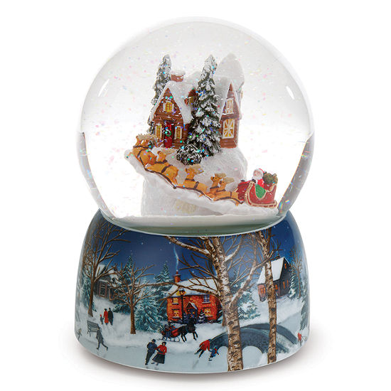 Roman 6.75 Inch Musical Village With Rotating Santa Santa Snow Globe