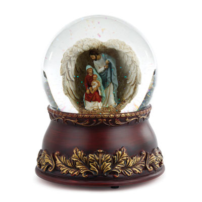 Roman 6.75 Inch Holy Family In Wings Religious Snow Globe
