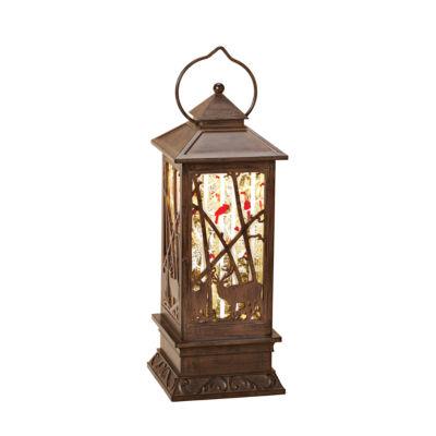 Roman 11 Inch Led Lantern With Deer Snow Globe