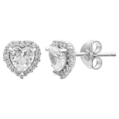 Silver Treasures Silver Treasures Sterling Silver 7.8mm Heart Stud Earrings