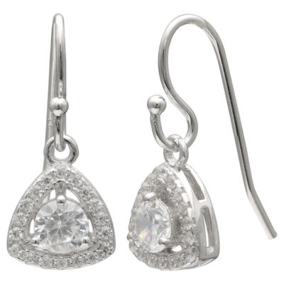 Silver Treasures Pave Cz Triangle Sterling Silver Triangle Drop Earrings