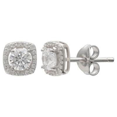 Silver Treasures Halo Cz Sterling Silver 7mm Stud Earrings