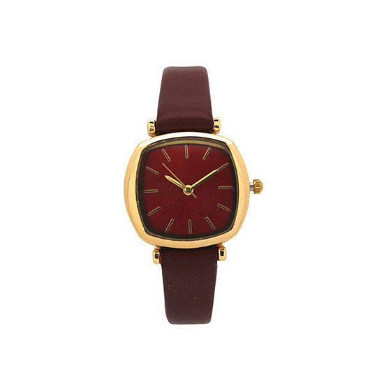 Olivia Pratt Womens Red Leather Strap Watch-D27069red