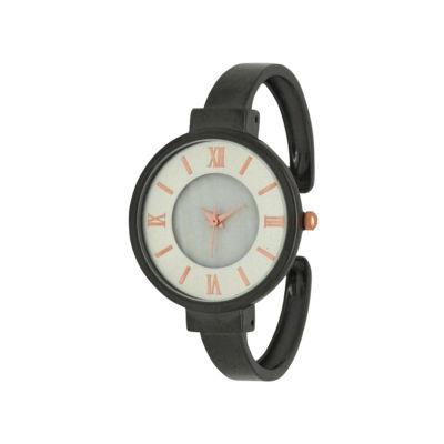 Olivia Pratt Womens Gray Strap Watch-H10029gunmetal